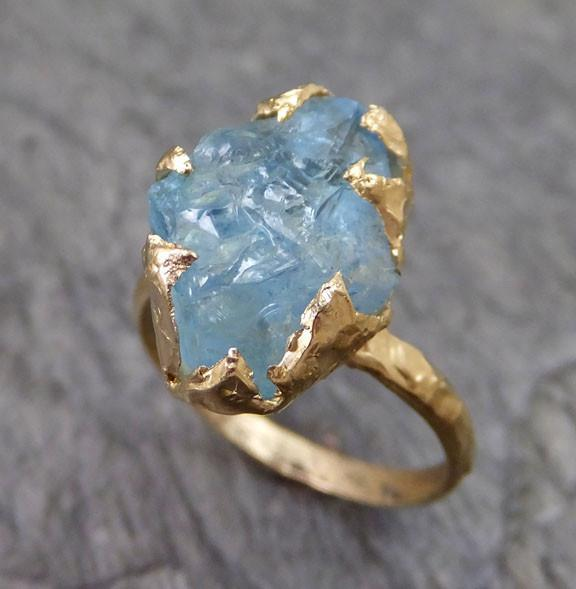 Raw Uncut Aquamarine Ring Solid 14K Gold Ring wedding engagement Rough Gemstone Ring Statement Ring Stacking Ring - Gemstone ring by Angeline