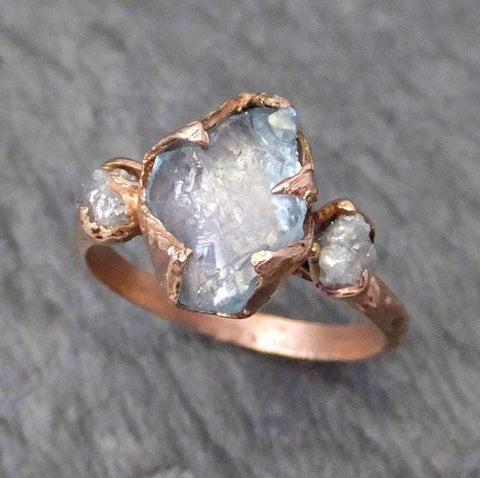 Raw Uncut Aquamarine Diamond Rose Gold Engagement Ring Wedding Ring Custom One Of a Kind Gemstone Ring Three stone Ring - Gemstone ring by Angeline