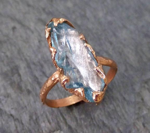 Raw Uncut Aquamarine Ring Solid 14K Rose Gold Ring wedding engagement Rough Gemstone Ring Statement Ring Stacking Ring - Gemstone ring by Angeline