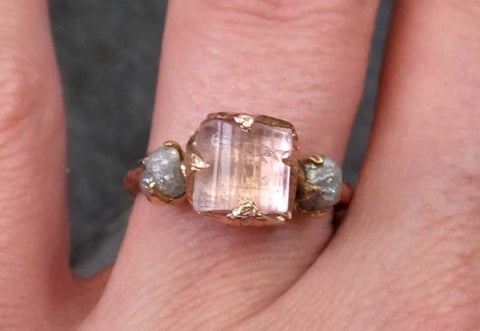 Raw Pink Tourmaline Diamond 14k Rose Gold Engagement Ring Wedding Ring One Of a Kind Gemstone Ring Bespoke Three stone Ring - Gemstone ring by Angeline