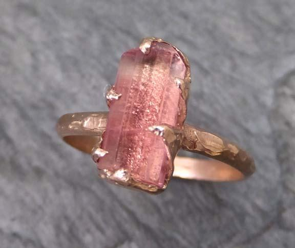 Raw Rough Pink Topaz 14k rose Gold Ring One Of a Kind Gemstone Ring Recycled gold byAngeline 0025 - Gemstone ring by Angeline