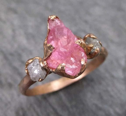 Raw Spinel Diamond Rose Gold Engagement Ring Multi stone Wedding Ring Custom One Of a Kind Pink Gemstone Ring Three stone Ring 0024 - Gemstone ring by Angeline