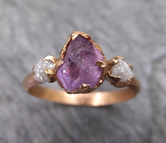 Raw Spinel Diamond Rose Gold Engagement Ring Wedding Ring Custom One Of a Kind Purple Lavender Gemstone Ring Three stone Ring - Gemstone ring by Angeline