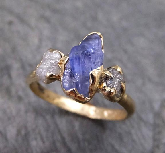 Raw Sapphire Diamond Gold Engagement Ring Wedding Ring Custom One Of a Kind Purple Perwinkle Violet Gemstone Ring Three stone - Gemstone ring by Angeline