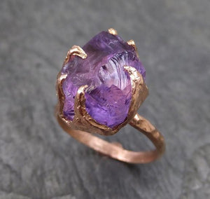 Amethyst Rose Gold Ring Purple Gemstone Recycled 14k rose Gold Gemstone Cocktail Statement ring
