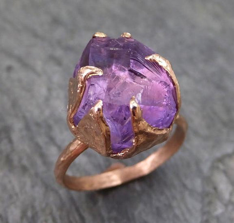 Amethyst Rose Gold Ring Purple Gemstone Recycled 14k rose Gold Gemstone Cocktail Statement ring - Gemstone ring by Angeline