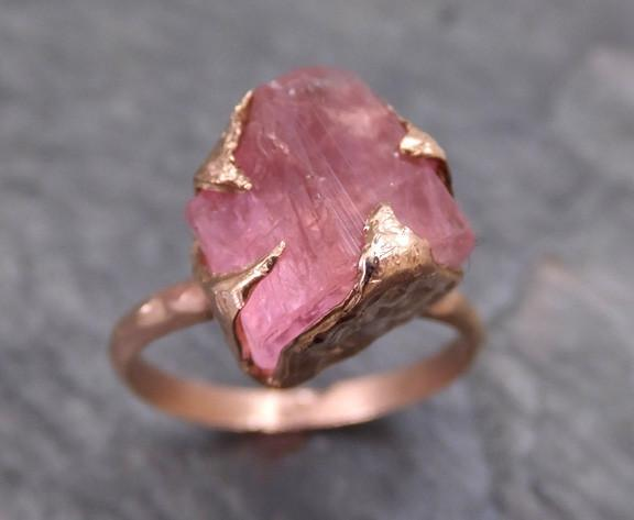 Raw Rough Pink Topaz 14k rose Gold Ring One Of a Kind Gemstone Ring Recycled gold 0020 - Gemstone ring by Angeline