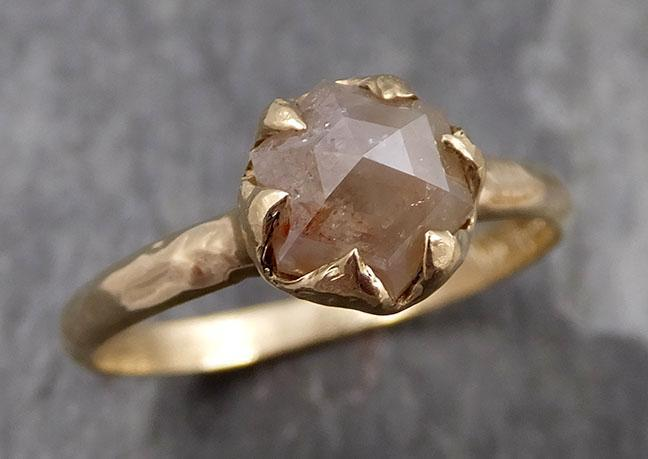 Fancy cut Champagne Diamond 14k Yellow gold Solitaire Ring Gold Gemstone Engagement Ring Raw gemstone Jewelry 0807 - Gemstone ring by Angeline