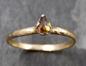 Fancy cut Cognac Diamond Solitaire Dainty Engagement 14k Yellow Gold Wedding Ring Diamond Ring byAngeline 0808