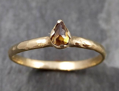 Fancy cut Cognac Diamond Solitaire Dainty Engagement 14k Yellow Gold Wedding Ring Diamond Ring byAngeline 0808 - Gemstone ring by Angeline