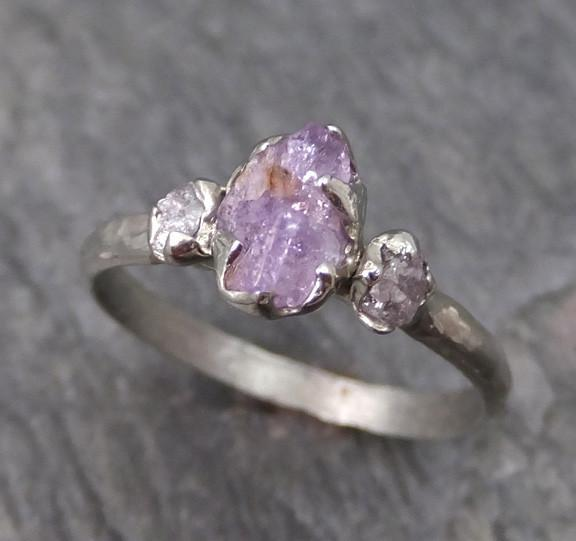 Raw Sapphire Pink Diamond White Gold Engagement Ring Wedding Ring Custom One Of a Kind Lavender Gemstone Ring Three stone Ring - Gemstone ring by Angeline