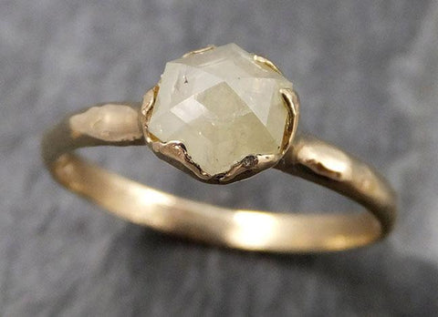 Fancy cut white Diamond Solitaire Engagement 14k yellow Gold Wedding Ring byAngeline 0816 - Gemstone ring by Angeline