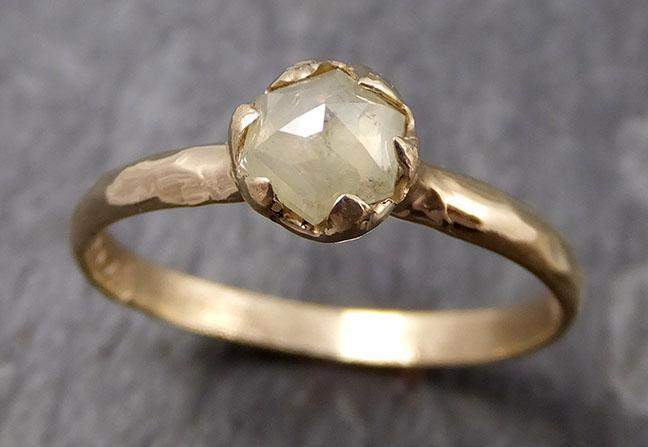Fancy cut white Diamond Solitaire Engagement 14k yellow Gold Wedding Ring byAngeline 0817 - Gemstone ring by Angeline