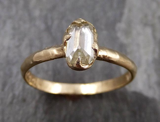 Fancy cut white Diamond Solitaire Engagement 14k yellow Gold Wedding Ring byAngeline 0818 - Gemstone ring by Angeline