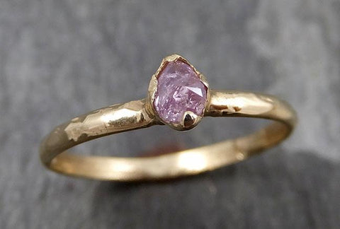 Dainty Fancy cut pink Diamond Solitaire Engagement 14k yellow Gold Wedding Ring Diamond Ring byAngeline 0820 - Gemstone ring by Angeline