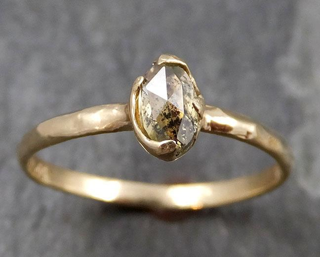 Faceted Fancy cut Champagne Diamond Solitaire Engagement 14k Yellow Gold Wedding Ring byAngeline 0824 - Gemstone ring by Angeline
