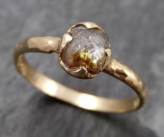 Faceted Fancy cut Champagne Diamond Solitaire Engagement 14k Yellow Gold Wedding Ring byAngeline 0825 - Gemstone ring by Angeline