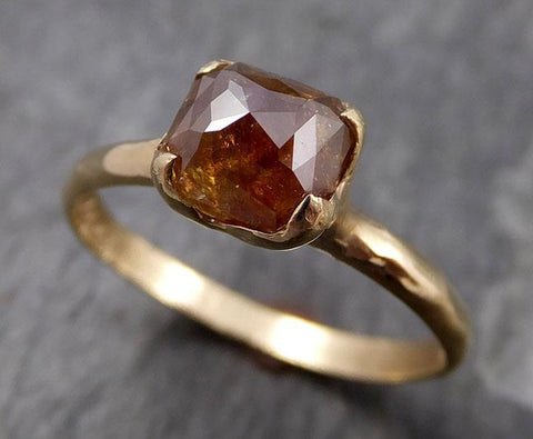 Faceted Fancy cut Cognac Diamond Solitaire Engagement 14k Yellow Gold Wedding Ring byAngeline 0826 - Gemstone ring by Angeline