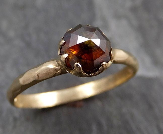 Faceted Fancy cut Cognac Diamond Solitaire Engagement 14k Yellow Gold Wedding Ring byAngeline 0827 - Gemstone ring by Angeline