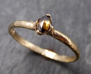 Faceted Fancy cut Dainty Cognac Diamond Solitaire Engagement 14k Yellow Gold Wedding Ring byAngeline 0829
