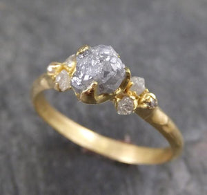 CUSTOM 18k Raw Diamond Engagement Ring Rough Gold Wedding Ring diamond Wedding Ring Rough Diamond Ring