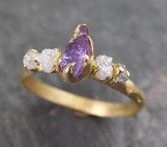 Raw Sapphire Diamond 18k yellow Gold Engagement Ring Multi stone Wedding Ring Custom One Of a Kind Purple Gemstone Ring Three stone Ring 0046 - Gemstone ring by Angeline