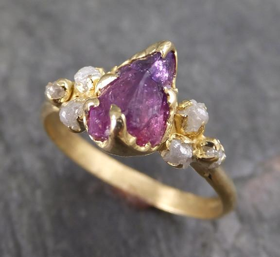 Raw Sapphire Diamond 18k Gold Engagement Ring Wedding Ring Custom One Of a Kind Pink Purple Gemstone Ring Three stone Ring - Gemstone ring by Angeline