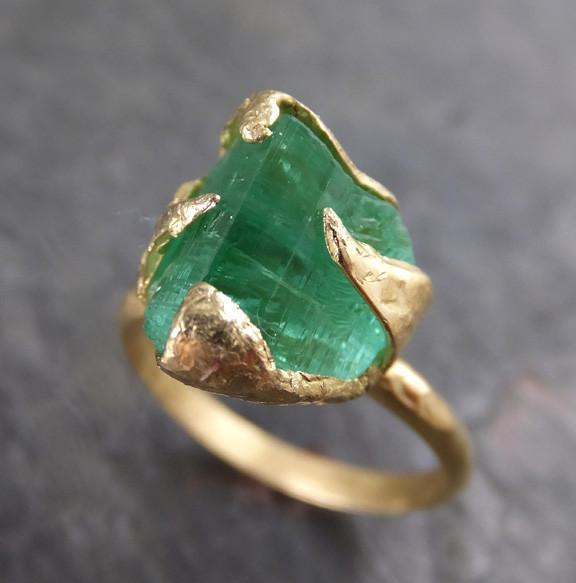 Raw Sea Green Tourmaline Gold Ring Rough Uncut Gemstone tourmaline recycled 18k stacking cocktail statement - Gemstone ring by Angeline