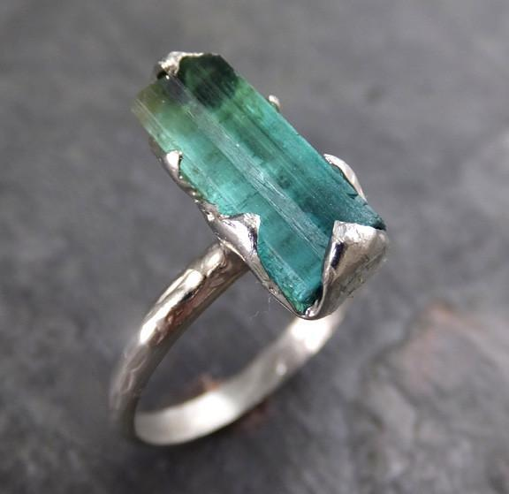 Raw Blue Green Tourmaline White Gold Ring Rough Uncut Gemstone Promise Engagement recycled 14k stacking cocktail statement 0011 - Gemstone ring by Angeline