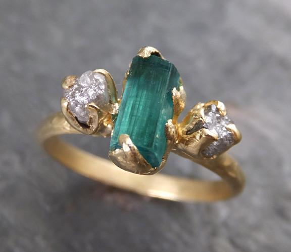 Raw blue green Indicolite Tourmaline Diamond Gold Engagement Engagement Wedding Ring One Of a Kind Gemstone Three stone Ring - Gemstone ring by Angeline