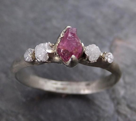 Raw Sapphire Diamond White Gold Engagement Ring Multi stone Wedding Ring Custom One Of a Kind Hot Pink Gemstone Ring Three stone Ring 0067 - Gemstone ring by Angeline