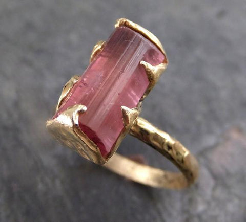 Raw Pink Tourmaline Rose yellow Gold Ring Rough Uncut Pink Gemstone Promise engagement wedding recycled 14k Size stacking 0070 - Gemstone ring by Angeline