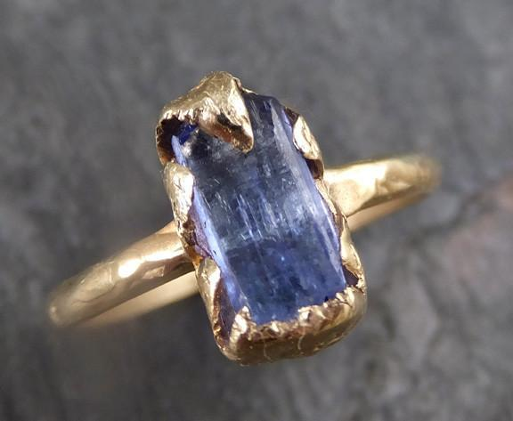 Raw Natural Tanzanite Crystal Gold Ring Rough Uncut Gemstone tanzanite recycled 14k stacking cocktail statement ring - Gemstone ring by Angeline