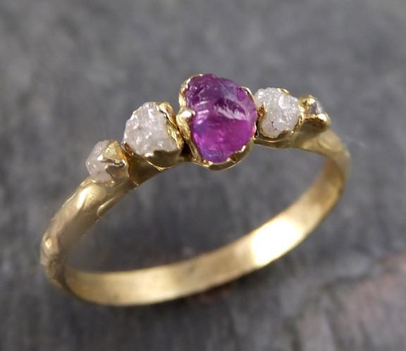 Raw Sapphire Diamond 18k Gold Engagement Ring Multi stone Wedding Ring Custom One Of a Kind Hot Pink Gemstone Ring Three stone Ring - Gemstone ring by Angeline