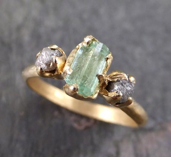 Raw Sea Mint green Tourmaline Diamond Gold Multi stone Engagement Wedding Ring One Of a Kind Gemstone Three stone Ring 0075 - Gemstone ring by Angeline