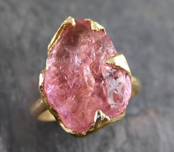 Raw Rough Pink Topaz 18k yellow Gold Ring One Of a Kind Gemstone Ring Recycled gold 0076 - Gemstone ring by Angeline