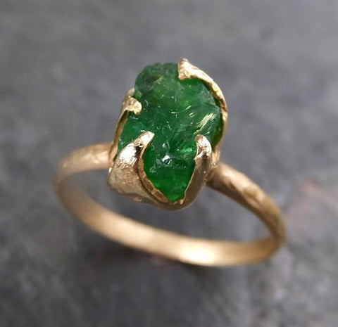 Rough Raw Natural Tsavorite Garnet Green Gemstone ring Recycled 14k Gold One of a kind Gemstone ring 0077 - Gemstone ring by Angeline