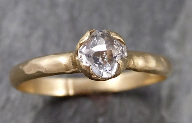 Faceted Fancy cut White Diamond Solitaire Engagement 18k Yellow Gold Wedding Ring byAngeline 0830 - Gemstone ring by Angeline
