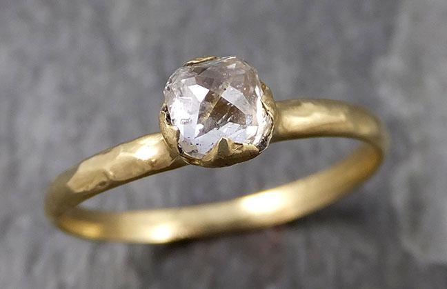 Faceted Fancy cut White Diamond Solitaire Engagement 18k Yellow Gold Wedding Ring byAngeline 0831 - Gemstone ring by Angeline