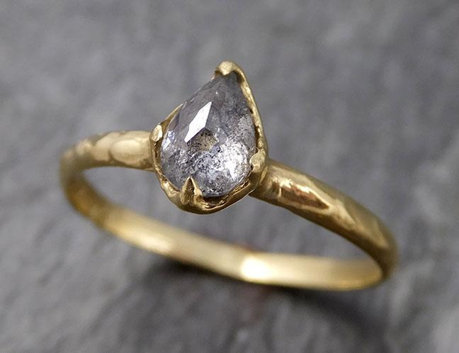 Faceted Fancy cut Salt and Pepper Diamond Solitaire Engagement 18k Yellow Gold Wedding Ring byAngeline 0832 - Gemstone ring by Angeline