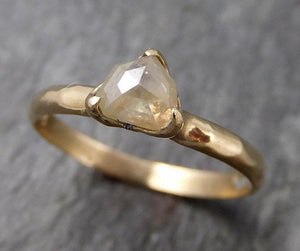 Faceted Fancy cut Dainty Diamond Solitaire Engagement 14k Yellow Gold Wedding Ring byAngeline 0834