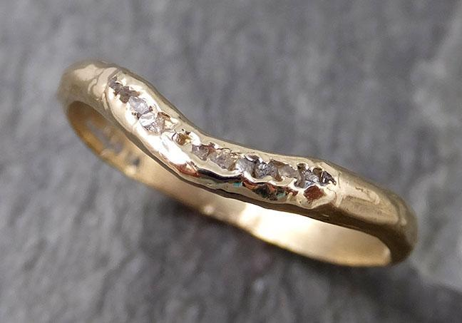 CUSTOM Raw Rough Uncut Diamond Contour Curved Wedding Band 14k Gold Wedding Ring c0835 - Gemstone ring by Angeline