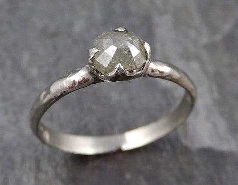 Fancy cut White Diamond Solitaire Engagement 14k White Gold Wedding Ring byAngeline 0837 - Gemstone ring by Angeline