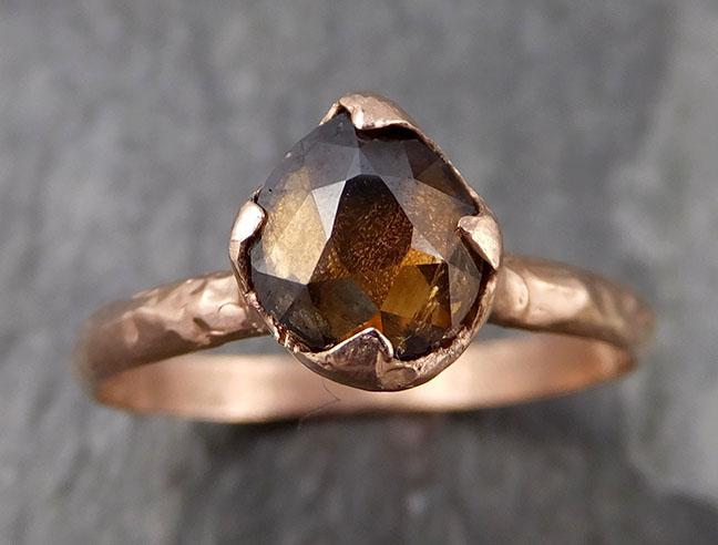 Fancy cut Cognac Diamond Solitaire Engagement 14k Rose Gold Wedding Ring Diamond Ring byAngeline 0839 - Gemstone ring by Angeline