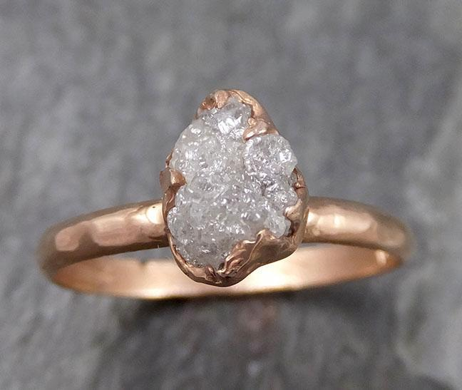 Raw Diamond Solitaire Engagement Ring Rough 14k rose Gold Wedding Ring diamond Stacking Ring Rough Diamond Ring byAngeline 0840 - Gemstone ring by Angeline