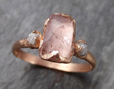 Partially Faceted Pink Topaz Diamond 14k rose Gold Ring One Of a Kind Gemstone Ring Recycled gold byAngeline Multi stone 0841 - Gemstone ring by Angeline