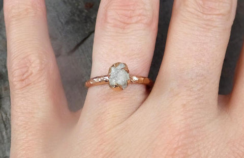 Raw Diamond Solitaire Engagement Ring Rough 14k rose Gold Wedding Ring diamond Wedding Set Stacking Ring Rough Diamond Ring - Gemstone ring by Angeline