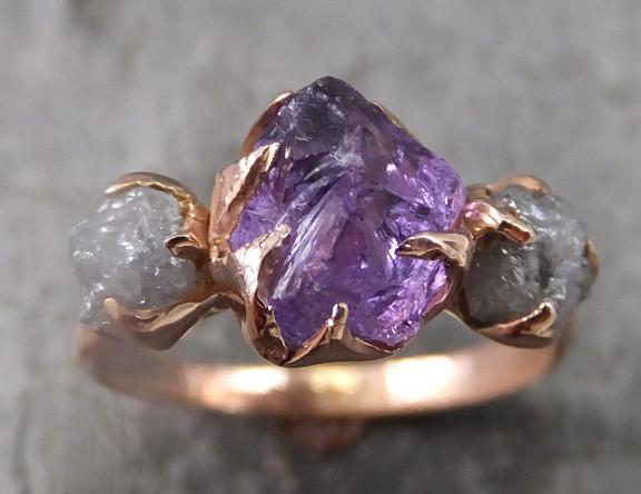 Raw Amethyst Diamond Rose Gold Engagement Ring Wedding Custom One Of a Kind Purple Gemstone Ring Birthstone Three stone Ring - Gemstone ring by Angeline