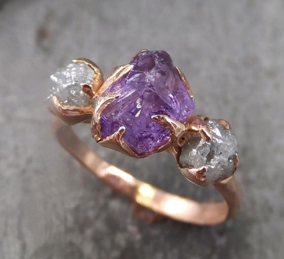yellow or rose gold alternative engagement February birthstone ring stacking ring Raw amethyst gemstone ring solid 14k white