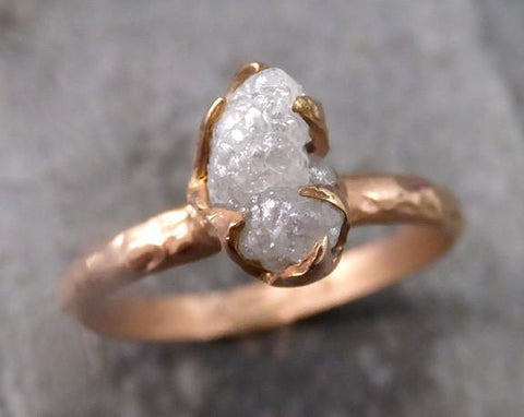 Raw Diamond Solitaire Engagement Ring Rough 14k rose Gold Wedding Ring diamond Stacking Ring Rough Diamond Ring 0092 - Gemstone ring by Angeline
